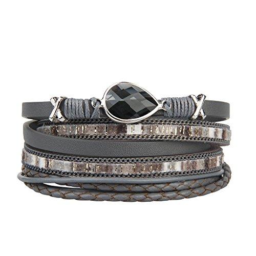 - Bfiyi Leather Cuff Bracelet Teardrop Wrap Bangle Handmade Jewelry Bohemia Bracelet Women,girls