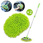 "#LightningDeal 2 in 1 Chenille Microfiber Car Wash Brush Mop Mitt with 45"" Aluminum Alloy Long Handle, Car Cleaning Kit Brush Duster, Not Hurt Paint Scratch Free Cleaning Tool Dust Collector Supply for Washing Truck"