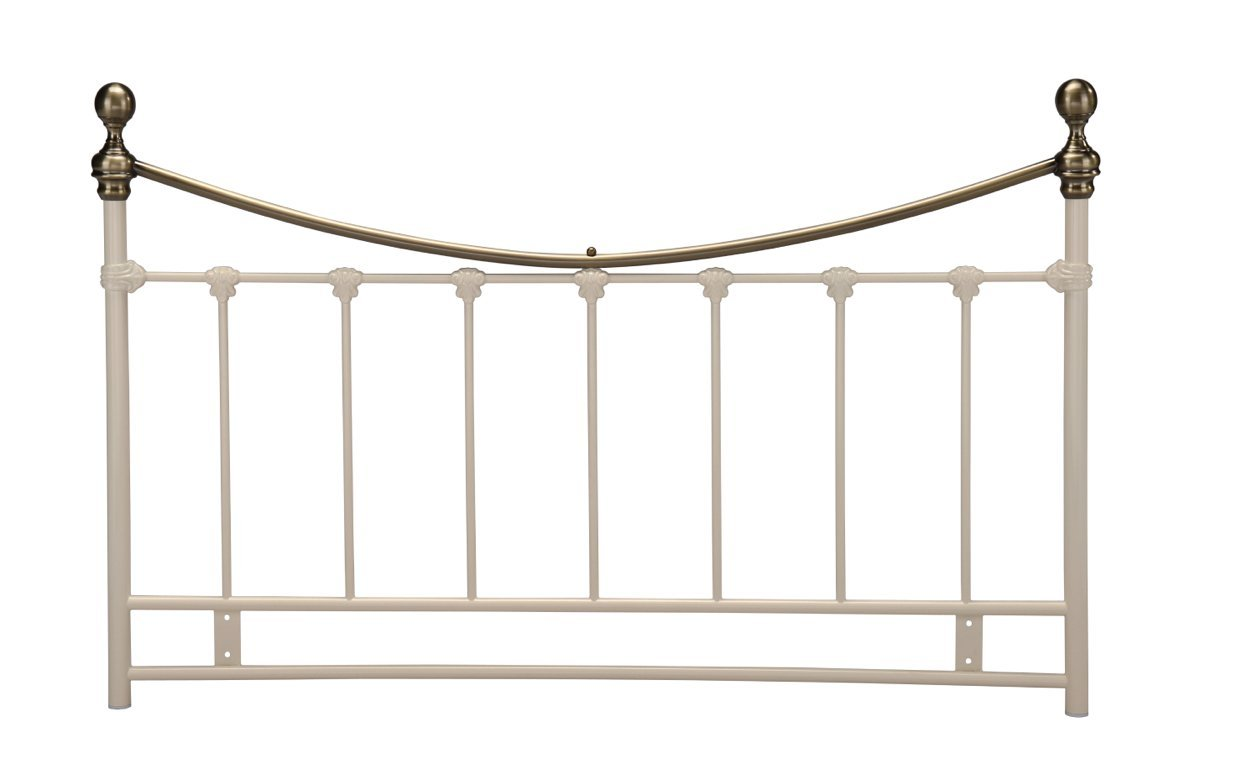 4ft6 Double Metal Headboard for Bed in Cream finish with Antique brass Getaheadboard