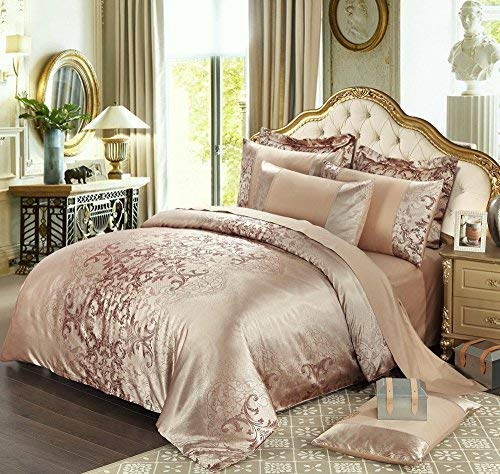 UniTendo 4 Piece Sateen Cotton Jacquard Duvet Cover Sets,Delicate Floral Pattern Bedding Sets,Duvet Cover Flat Sheet and 2 Pillowcases,Champagne,Queen/XL Twin (Champagne Bedding)