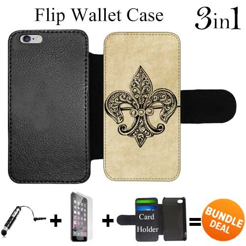 Vintage Purses Ebay - Flip Wallet Case for iPhone 6 Plus/6S Plus (Vintage Teal Fleur de Lis ) with 3 Card Holders | Shock Protection | Lightweight | Includes HD Tempered Glass and Stylus Pen by Innosub