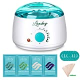 Hair Removal Wax Strip Kit - Lansley Wax Warmer Hair Removal Home Waxing Kit Electric Pot Heater for Rapid Waxing of All Body, Face, Bikini Area, Legs with 4 Flavor Hard Wax Beans & 10 Wax Applicator Spatulas(At-home Waxing)