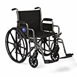 Medline K1 Wheelchair with Desk-Length Arms and Swing-Away Footrests for Easy Transfers, 20' Seat