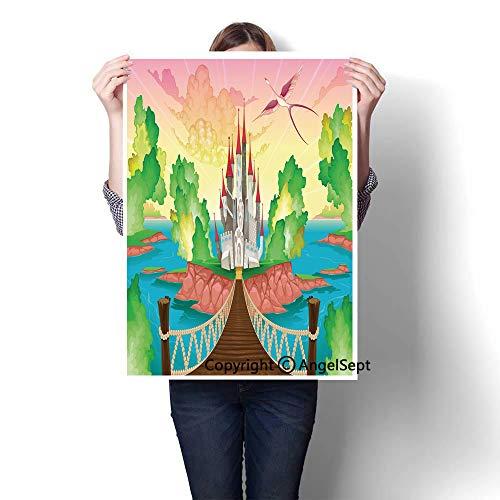 Multicolor Modern Canvas Painting Wall Art,Princess Castle Above Wooden Bridge and Phoenix -