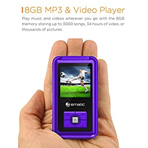 8GB MP3 Video Player with FM Tuner/Recorder and 1.5-inch Color Screen, Purple