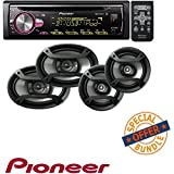 Pioneer CD Receiver with Improved Pioneer ARC App Compatibility, MIXTRAX, Built-in Bluetooth, and Color Customization W/ Two Pairs 200W 6.5 + 230W 6x9 Car Audio 4 Ohm Component Speakers