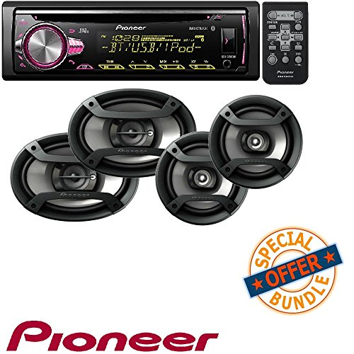 (Pioneer CD Receiver with Improved Pioneer ARC App Compatibility, MIXTRAX, Built-in Bluetooth, and Color Customization W/Two Pairs 200W 6.5