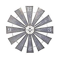 "48"" Steel and Pewter Gray Weathered Windmill Wall Clock"