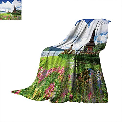 Balinese Weave Pattern Extra Long Blanket Pura Ulun Danu Temple Bali Tropic Flowers Water Plants Tower in Sea Scenery Custom Design Cozy Flannel Blanket 90
