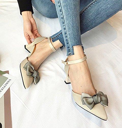 MDRW-Lady/Elegante/Trabajo/Ocio/Muelle 6Cm Señaló High-Heeled Zapatos Zapatos Con Gruesas Palabras De Albaricoque All-Match Sandalias Zapatos Boca Superficial Bow 38 36