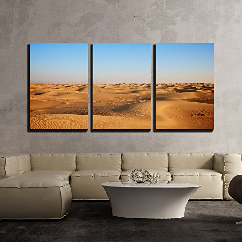 wall26 - 3 Piece Canvas Wall Art - Vast Scene of Yellow Desert and Blue Sky - Modern Home Decor Stretched and Framed Ready to Hang - 16