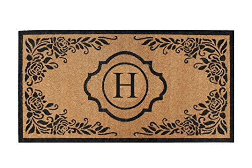 A1 Home Collections PT6002-H Hand Craft Entry Coir Monogram Double Doormat,72