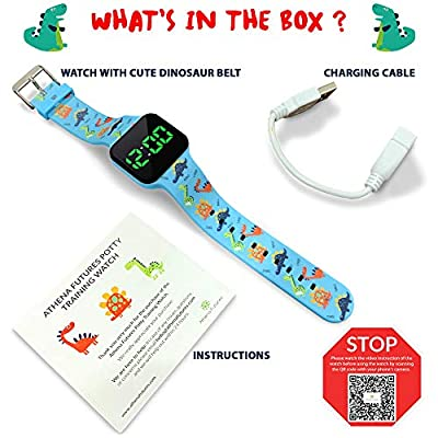 Potty Training Timer Watch with Flashing Lights and Music Tones – Water Resistant, Rechargeable, Dinosaur Pattern…