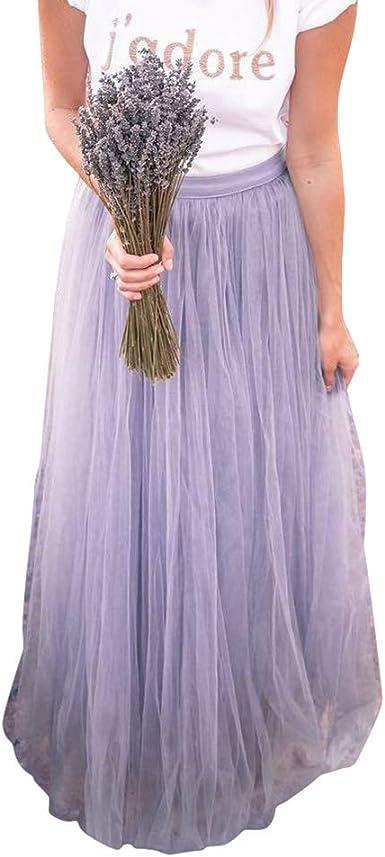 Kunfang Maxi Long Tulle Mesh A-Line Faldas de Moda para Mujer ...