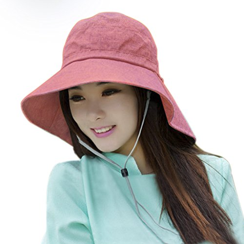 Cotton Chin Cord - Women's Floppy Packable Sun Protection Hat with Adjustable Chin Strap Cute Bowknot Wide Brim Cotton Summer Flap Cover Cap Travel Beach Fishing Sun Hat with Neck Cord Shade Visor UPF 50+ (Pink)
