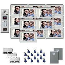Video Entry Intercom System 14 7 color monitor door camera key fob