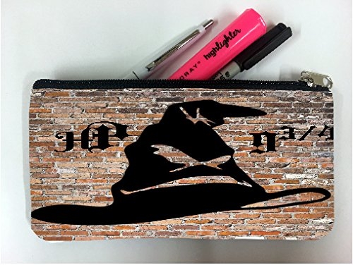 HP Wizard Hat 9 3/4 (nine and three quarters) Brick Wall Student Pen Pencil Case Coin Purse Pouch Cosmetic Makeup Bag