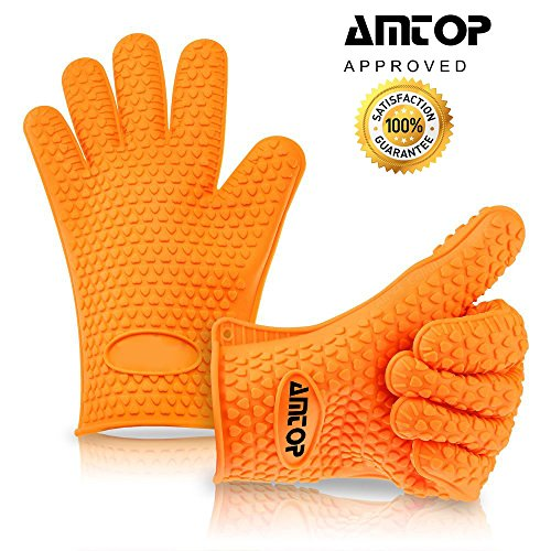 amtop beste hitzebeständige silikon backofen & grill-handschuhe ... - Hitzeschutzhandschuhe Küche