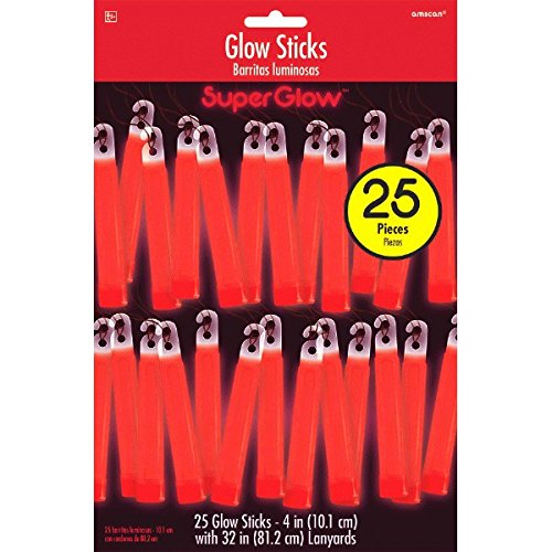 amscan Red Plastic Glow Stick Mega Value Pack, 25 Ct. | Party Accessory ()