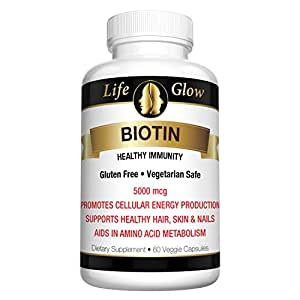 Biotin For Hair Growth 5000 mcg Super Potency Best Supplement For Skin and Nails - 60 Vegetarian Capsules - Pharmaceutical Grade - Double Safety Sealed For Your Protection - by Life Glow