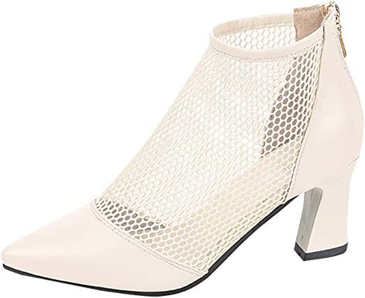 Women Clear Wedge Heel Ankle Boots Pointed Toe Zip Party Shoes Pull On Pumps New