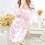 ec11b0840 uxcell Silk Satin Women Lady Lingerie Robe Sleepwear Nightwear Kimono Gown  Night Dress Pink