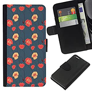 Stuss Case / Funda Carcasa PU de Cuero - Rosa Rojo Nativo Wallpaper - Apple Iphone 5C