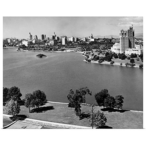 GREATBIGCANVAS Poster Print 1950's with Lake Merritt in Foreground Skyline View of Oakland California USA by 14