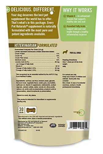 Pet Naturals of Vermont 3 Pack of Skin + Coat for Dogs, Skin and Coat Health Supplement, 30 Chews Per Pack