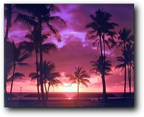 STUNNING PURPLE BEACH SUNSET CANVAS PICTURE PRINT WALL ART 895