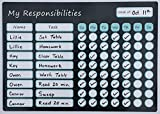 """Magnetic Responsibility Chart Dry Erase Board 9.75"""" X 14"""" with Marker Pen/Eraser Tip. Chore Chart/Reward Chart"""