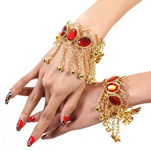 Ewanda store Belly Dance Show Gypsy Jewelry Bracelet Arm Chain Hand Decoration Diamond Bells Wristbands Bracelets - Gold Diamond Bells