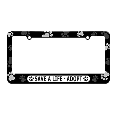 Graphics and More Save A Life Adopt - Pet Cat Dog License Plate Tag Frame - Paw Prints Design: Automotive