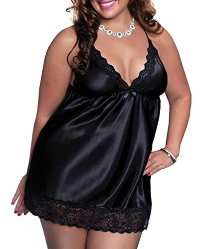 BeautyIn Women's Enchanting Satin Chemise Sexy Lingerie Babydoll with G String – XX-Large, Black