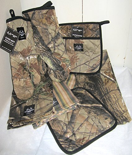 8 Piece Kitchen Dish Towels Oven Mitt and Potholder Realtree Camo ...