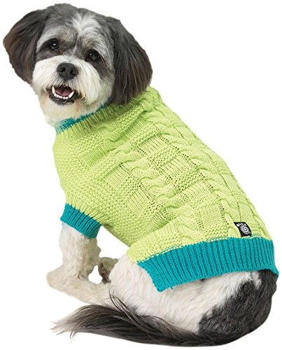 Petrageous Designs Cody'S Chunky Cable Sweater - Lime/Teal -