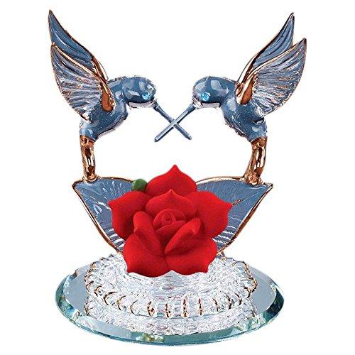 Hummingbirds & Red Rose Glass Figurine (Figurine Rose)