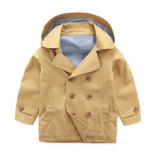 UWESPRING Kids Boys England Style Fashion Double Breast Dress Coat Hooded Trench Coats Outerwear 5T Khaki