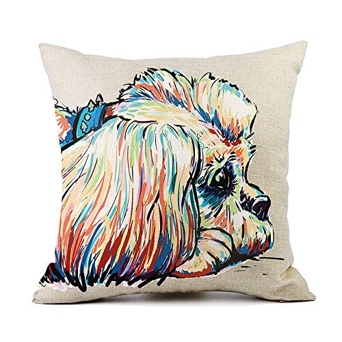 Redland Art Cute Pet Shih Tzu Dog Pattern Throw Pillow Covers Cotton Linen Cushion Cover Cases Pillowcases Sofa Home Decor 18