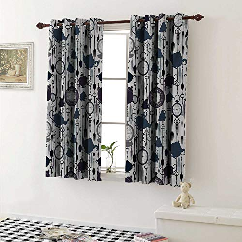 shenglv Tea Party Drapes for Living Room Antique Crockery Elements Clocks Feathers English Victorian Tradition Curtains Kitchen Window W96 x L72 Inch Slate Blue Plum Black