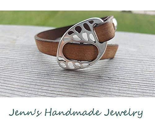 Neutral Tan and Silver Leather Buckle Bracelet - Tan with Silver Buckle Clasp- Trendy Bracelet, Modern Jewelry, Versatile Bracelet
