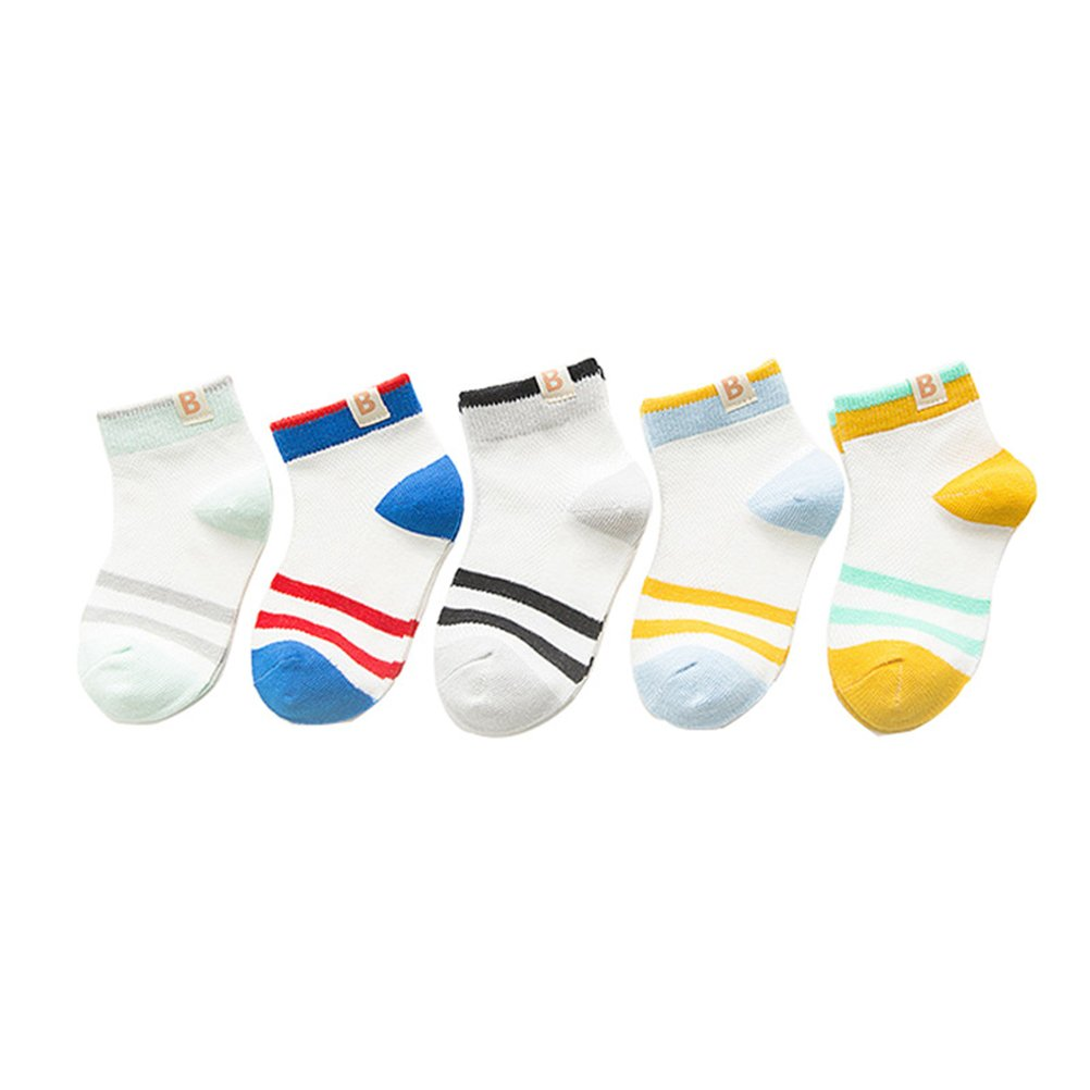 Searchself Little Boys' Cotton Stripe Breathable Mesh Thin socks(Pack of 5) (M, Stripe White)