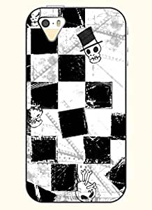 OOFIT Phone Case Design with Skull and Black Grid for Apple iPhone 4 4s 4g