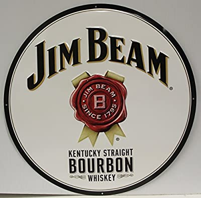 "Jim Beam Whiskey 24"" Metal Sign Kentucky straight bourbon whiskey Logo embossed Sign"