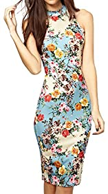 Summer Floral Printed Sleeveless Slim Fit Midi Sheath Tank Sun Dress
