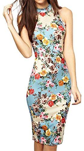 (Summer Floral Printed Sleeveless Slim Fit Midi Sheath Tank Sun Dress M)
