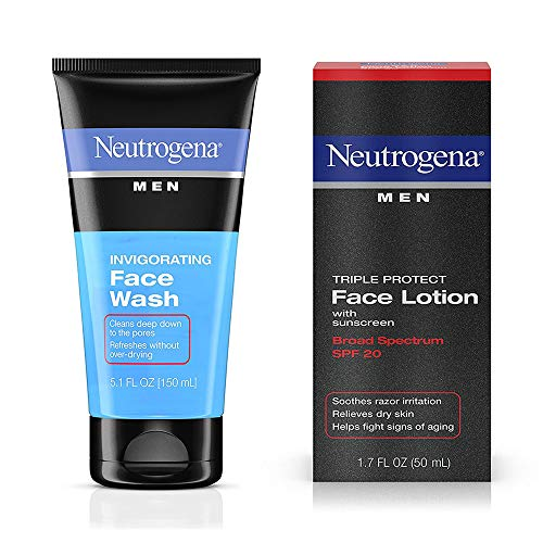 Neutrogena Men Triple Protect Face Lotion With Sunscreen, SPF 20 1.70 oz & Neutrogena Men Oil-Free Invigorating Foaming Face Wash 5.10 oz 1 ea ()