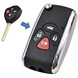 KEMANI Uncut Blade Modify Flip Folding Remote Key Shell Refit For Toyota Camry Avalon Corolla Matrix RAV4 Venza Keylless Fob Case 4 Button No chips