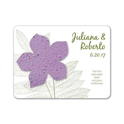 Bloomin Plantable Wildflower Wedding Favor with Seed Paper - Lavender (25 Card ()
