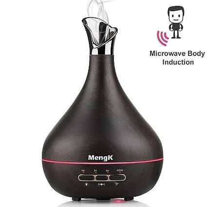 Difusor de Aceites Esenciales 300 ml, MENGK Humidificador de Aire Ultrasónico Niebla Congeladores Aromatizante Difusor Aromaterapia con 7-couleurs ...